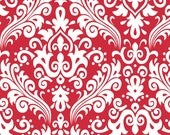 RILEY BLAKE Large Damask White on Red 100% cotton fabric by the Yard - C850-80