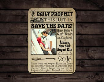 Custom Harry Potter Inspired Save The Date //The Daily Prophet