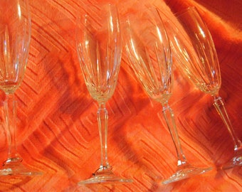 Vintage Crystal Long Stemmed Wine Glasses