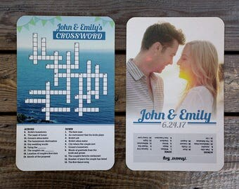 Wedding Crossword Puzzle Printed Unique Favors For Guests Custom Crosswords Photos