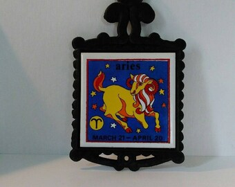 Vintage Aries Zodiac tile and cast iron trivet, made by Cherry, Japan, 1970s, Kitchen decor, Yellow ram