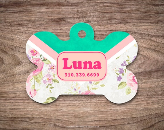 Floral Dog Tags Dog Tag for Collar Cute Pet ID Tag Custom Dog Name Tag Mint Puppy Tag Personalized Dog ID Tag Custom Pet Tag for Dog