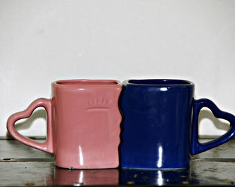 Kissing Coffee Mug, Set of 2, Pink, Blue, Heart Handles, 1980s, Wedding, Anniversary, Valentines Day, His and Hers, Smooching Couple, Kitsch