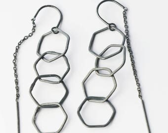 Oxidized Silver Hexagon Threader Earrings Geometric Earrings Honeycomb