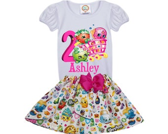 Girl Shopkin birthday outfit  girl name age outfit  Girl Shopkin  toddler outfit name age  shopkin personalized  toddler outfit  Girl dress