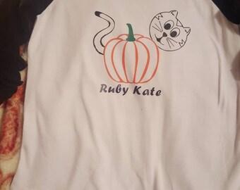 Halloween pumpkin and kitty shirt