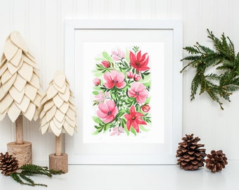 Merry and Bright Christmas Holiday Floral Art Print