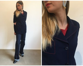 Giacca donna anni 70, Giacca lana blu e rossa, Blazer anni 70, giacca donna anni 70, giacca taglia media, giacca blu vtg, giacca a