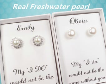 Bridesmaid gifts, pearl earrings, bridesmaid earrings,bridesmaid gift,bridal party gift,freshwater pearl earrings,pearl stud, pearl select