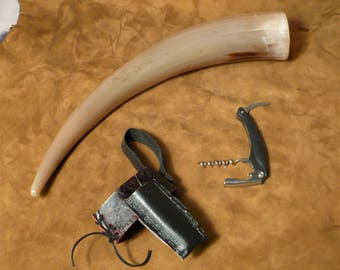 Drinking horn, Viking style, with belt holster and corkscrew