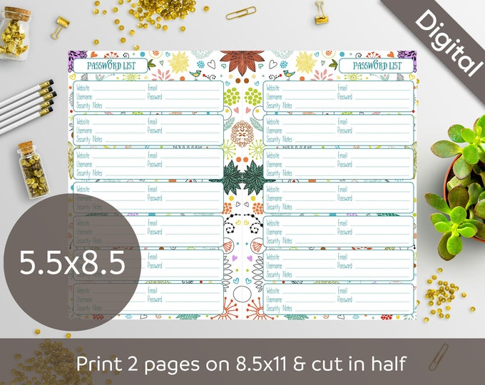 5 5x8 5 Password Book Printable, Half size, Password List, Log, Keeper,  Tracker, Journal, Syasia Cute Floral, Planner PDF Instant Download