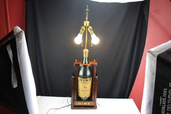 1930's Table Lamp  Hine Cognac 1 Gal. Bottle with Point of Sale Advertising Bar Back