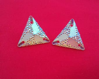 Large Triangle Earring, Silver Statement Fashion, Bling Earrings, Oversized Studs, Unique Jewelry, Fashion Accessories For Her, Ladies Gift