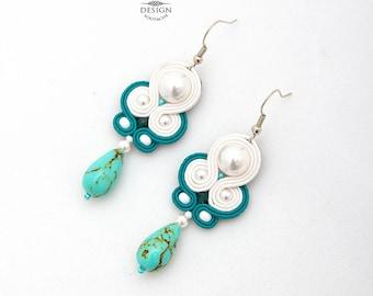 Bridal Earrings Pearl Wedding Earrings For Bride Wedding Pearl Earrings Dangle Earrings Green Drop Earrings White Soutache Earrings