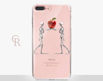 Halloween Skeletons Clear Phone Case - Clear Case - For iPhone 8, 8 Plus, X, iPhone 7 Plus, 7, SE, 5, 6S Plus, 6S,6 Plus, Samsung S8,S8 Plus