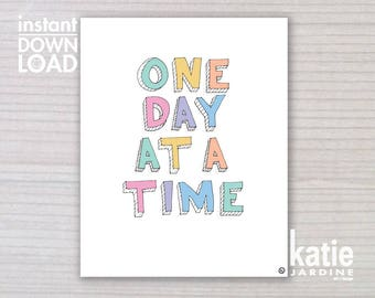girls wall art - kids wall art - one day at a time - 8x10 print - instant art - printable art - freehand text - girls rainbow