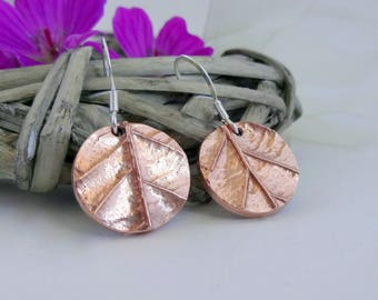 Copper Leaf Earrings, Copper Dangle Earrings, Nature Earrings, Everyday Earrings, Handmade Jewelry, Gift for Her, Copper Anniversary Gift