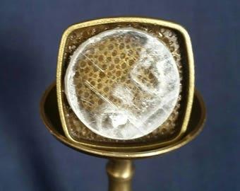 Selenite Crystal Adjustable Ring // SELENITE Jewelry // Healing Crystal // White Selenite Stone // Full Moon Ring // Gift for Him // Unisex