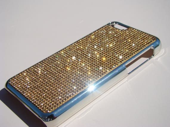 iPhone 5C Gold Rhinestone Crystals on Silver Chrome Case. Velvet/Silk Pouch Bag Included, Genuine Rangsee Crystal Cases.