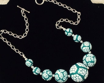 Unique Teal and White Statement OOAK necklace Handmade beads silver plated chain and toggle clasp Birthday Wedding Gift