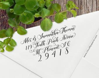 Calligraphy Return Address Stamp, Elegant Custom Address Stamp, Elegant Calligraphy Address Stamp, Wood or Self Inking Stamp #S027
