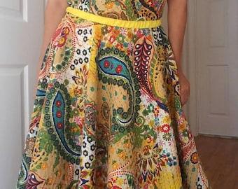 Crafty 100 % handmade dress, circle dress, summer dress, size S/M dress, no need bra dress, circle skirt dress. Vintage dress, flower dress.