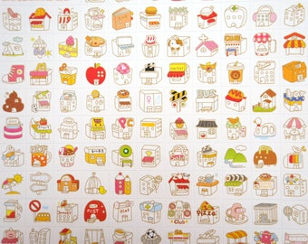 Two sheets Korean storefront stickers house stickers kawaii building stickers cute home stickers cute planner stickers architecture stickers