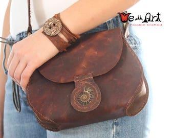 Handmade Brown Distressed Leather Shoulder Bag