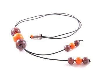 "Orange necklace - Collection ""Metamorphosis"""