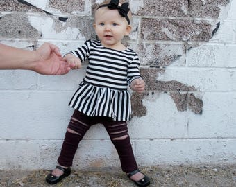 Mixed Stripe Peplum Top - Toddler Peplum Top - Baby Peplum Top - Baby Dress - Baby Girl Shirt - Toddler Outfit - Baby Outfit - Baby Gift
