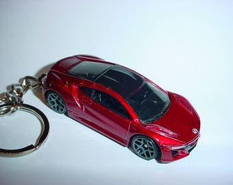 3D Acura NSX custom keychain by Brian Thornton keyring key chain finished in electric red color trim 2017