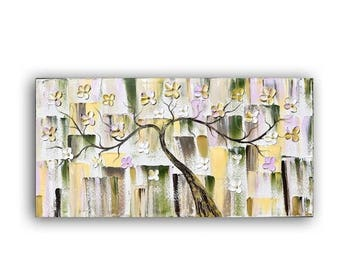 ART SALE ORIGINAL painting, flower tree painting, canvas art Palette knife, painting on canvas, paintings,wall hanging,floral, artwork,  byK