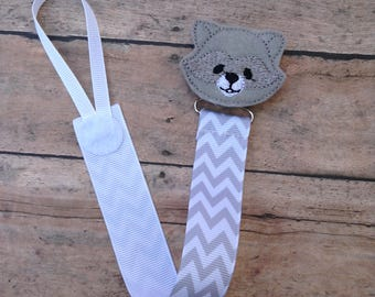 Racoon paci clip - animal Pacifier Clip - Pacifier Holder - baby Boy Pacifier Clip - Baby Pacifier Clips - ribbon paci clip - Binky holder