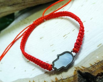 Stainless Steel Mother of Pearl Hamsa Red String Bracelet
