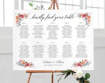 Printable Seating Chart Poster - Modern Botanical Floral Wedding Seat Chart - Wedding Seating Chart - Ready to Print PDF - (Item code: P492)