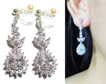 Long Bridal Invisible Clip On Earrings Wedding Dangle  27X  Clear crystal Rhinestone Cubic Zirconia Clip On Earrings Non Pierced Earrings