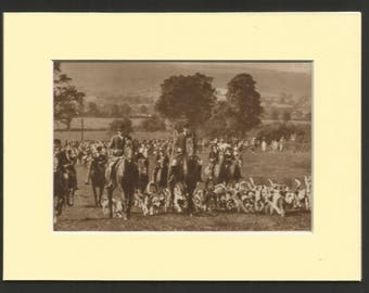 1930s  sepia print of the staghounds at venniford nr minehead somerset. antique wall decor
