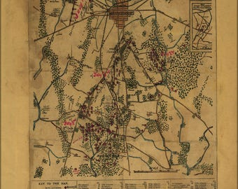 Poster, Many Sizes Available; Map Of Gettysburg Pennsylvania In Peace 1865
