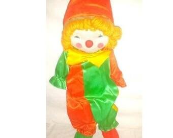Vintage Kamar Clown Plushie,Huggable,Creepy Cute Clown Plushie, Stuffed Clown,Kitsch,Clown,Vintage Clown Plushie, Kitschy Cute
