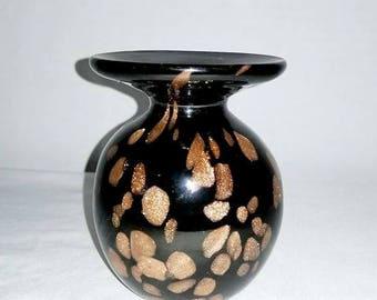 Hand Blown Art Glass Vase,Gold Speckled Glass Vase,Black and Gold Vase,Hand Blown,Art Glass Vase,MCM,Murano Style,Mottled Vase,Black Vase