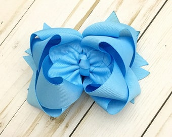 Blue Mist Double Stack Boutique Bow - Available in multiple sizes