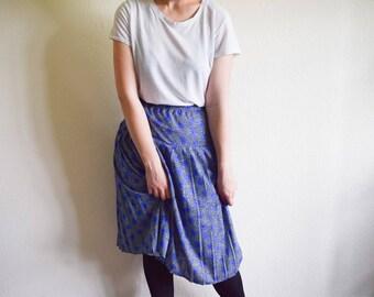 Vintage Pleated Skirt, 80s Blue Skirt With Rose Print, Blue Floral Skirt Medium