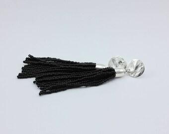 Long Black Beaded Tassel Statement Earrings, Handmade Jewelry by Detail London.