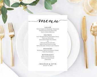 "5""x7"" Menu Template, Editable Wedding Menu, Instant Download, DIY Wedding, Printable Wedding Menu Template, DIY Dinner Menu"