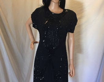Vintage Art Deco Lillie Rubin Beaded Cocktail Dress 100% Silk Black Sequins Size M