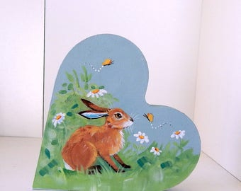 Summer  Hare - self standing chunky heart