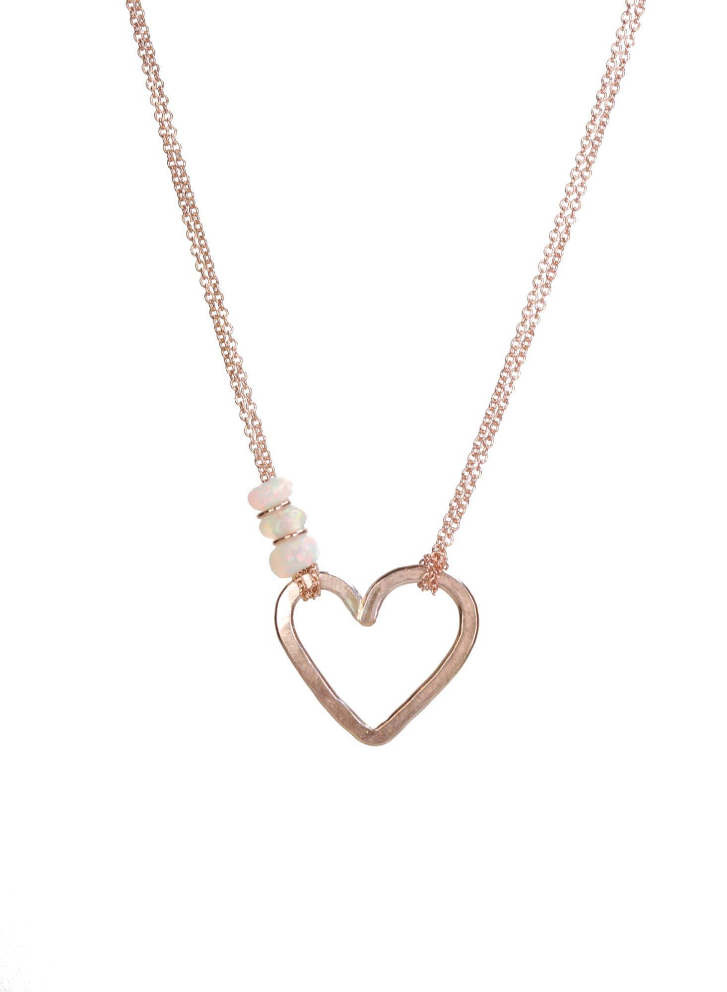 Valentineu0027s Day Jewelry Rose Gold Heart Pendant Necklace Ethiopian Welo  Opal Gemstone Slider Necklace Modern Elegant Romantic