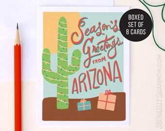 """Arizona Holiday Card, """"Season's Greetings"""" Boxed Set of A2 Greeting Cards"""