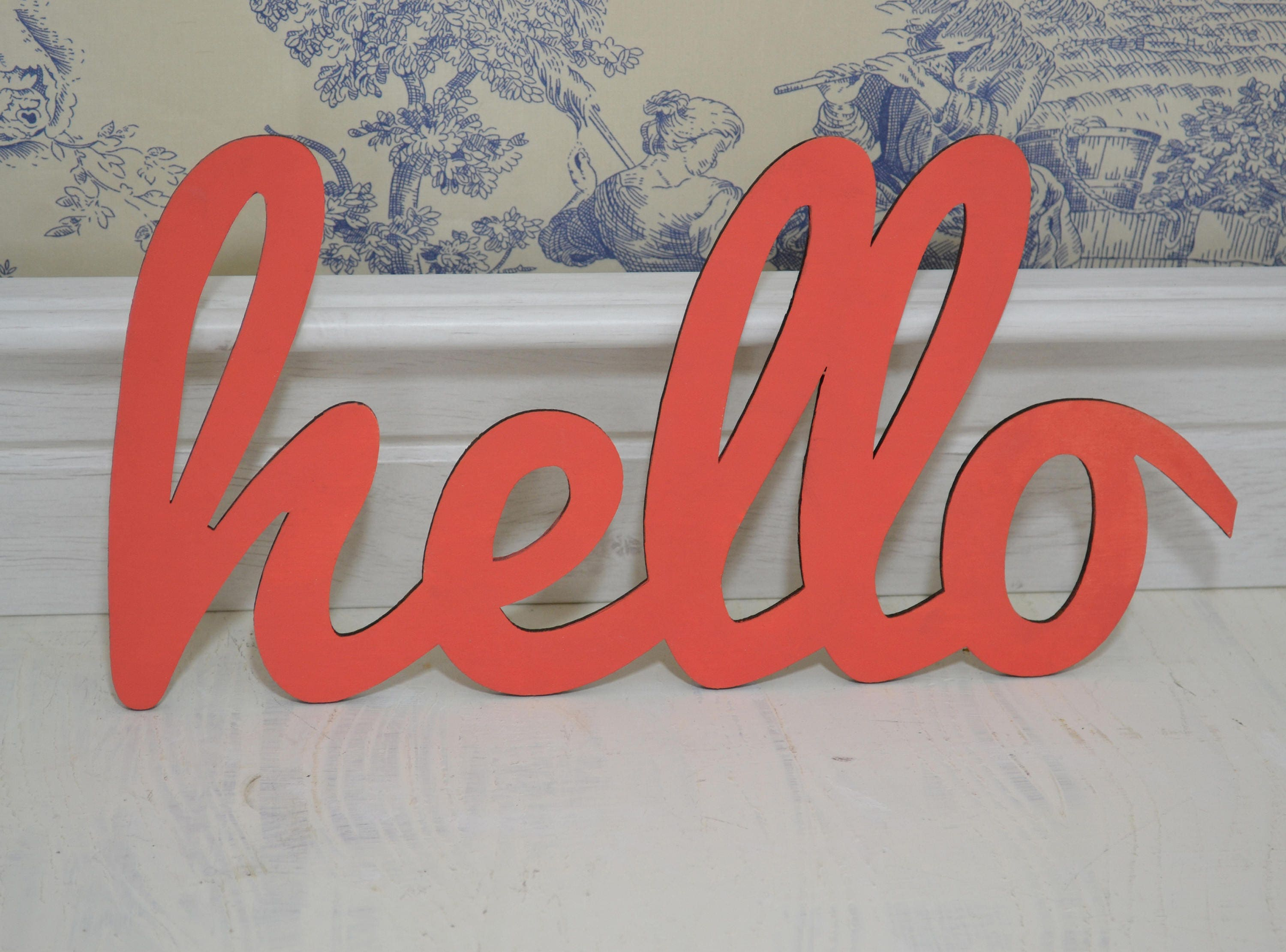Hello Welcome Sign Hello Wooden Letters Hand Painted
