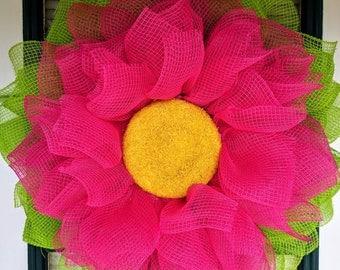 Pink Fabric Mesh Flower Wreath